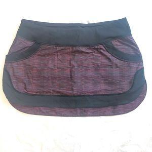 Lululemon flat front striped tennis skirt